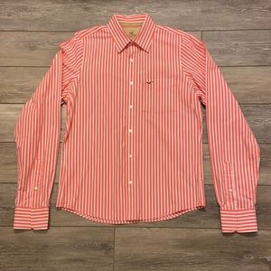 HOLLISTER BUTTON UP PINK AND WHITE STRIPED MENS XL